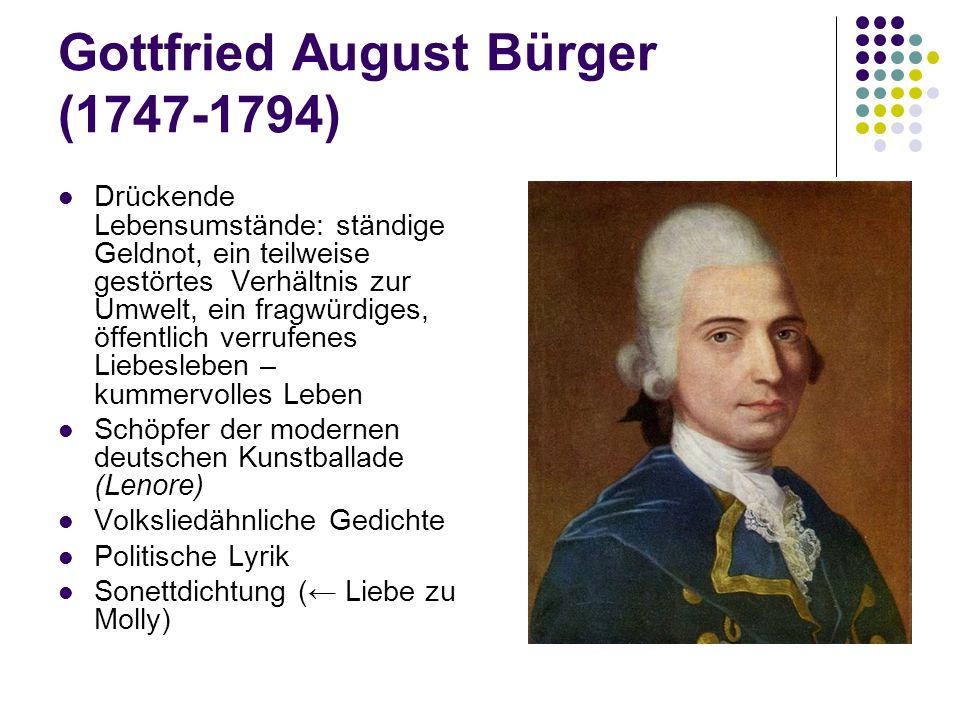 Gottfried August Bürger (1747-1794) Drückende Lebensumstände: ständige Geldnot, ein teilweise gestörtes Verhältnis zur Umwelt, ein fragwürdiges, öffen