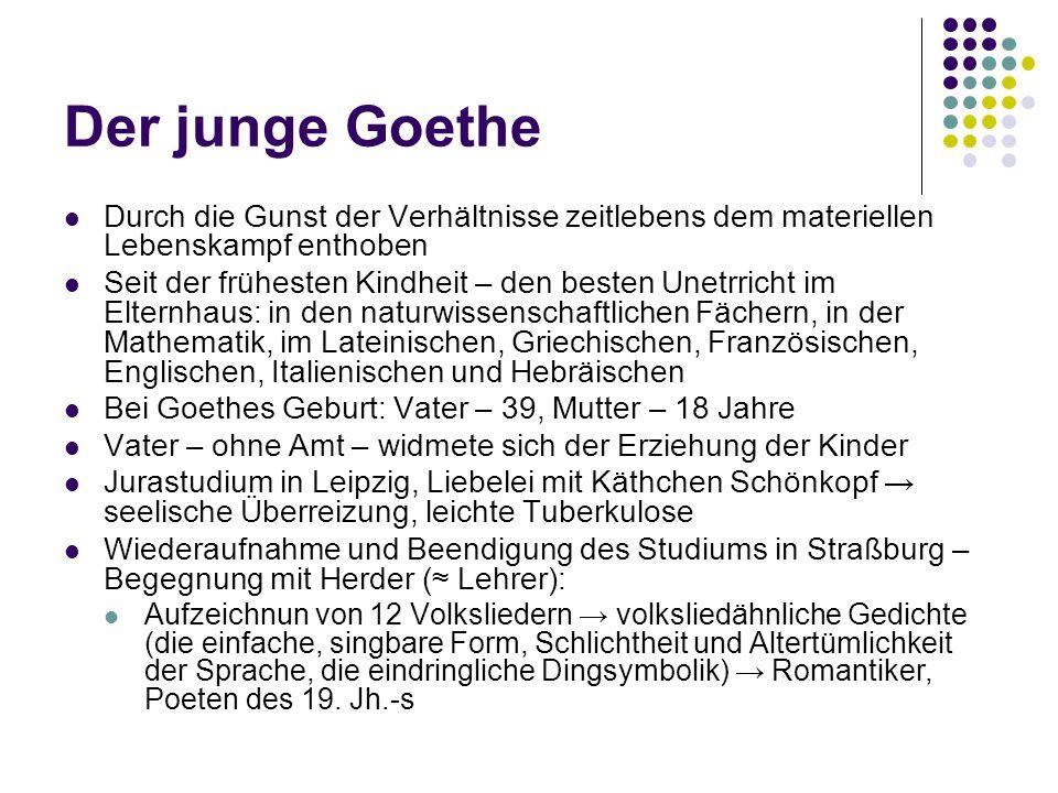 Der junge Goethe Durch die Gunst der Verhältnisse zeitlebens dem materiellen Lebenskampf enthoben Seit der frühesten Kindheit – den besten Unetrricht