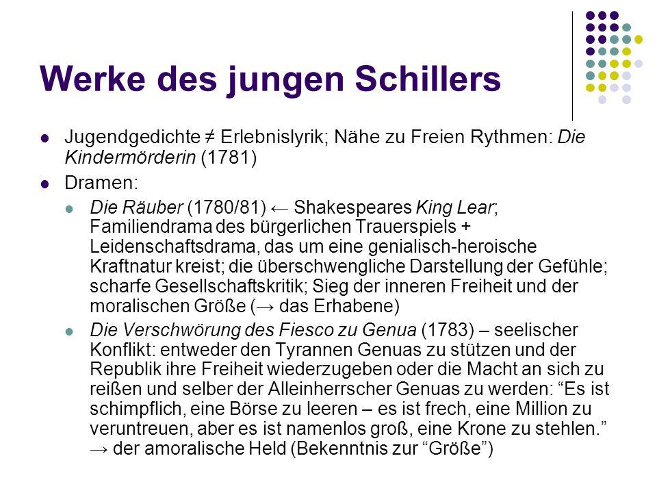 Werke des jungen Schillers Jugendgedichte ≠ Erlebnislyrik; Nähe zu Freien Rythmen: Die Kindermörderin (1781) Dramen: Die Räuber (1780/81) ← Shakespear