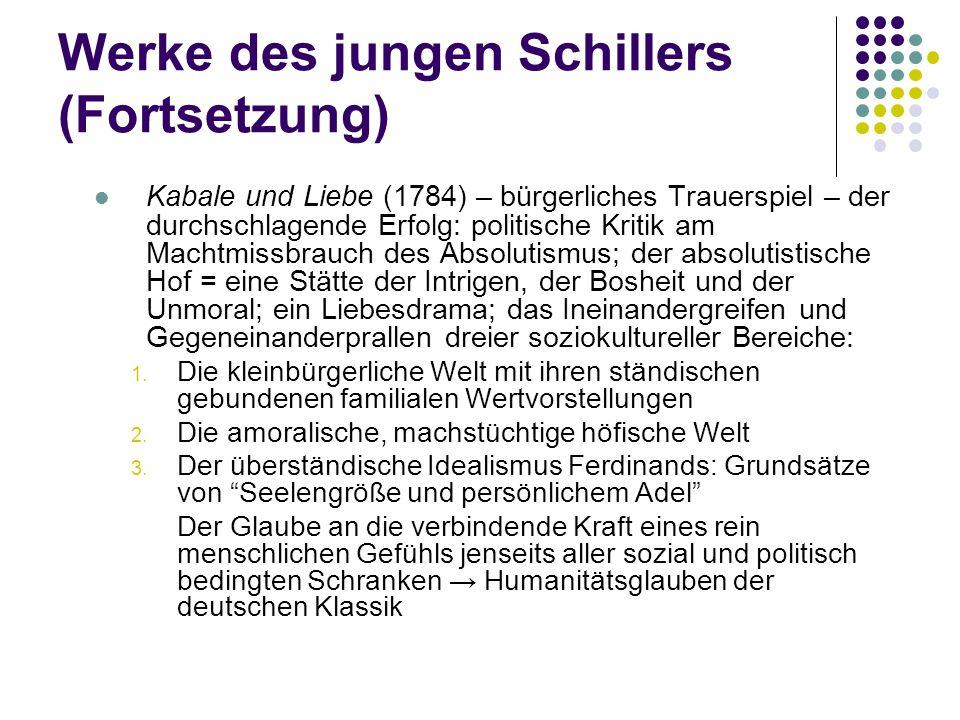 Werke des jungen Schillers (Fortsetzung) Kabale und Liebe (1784) – bürgerliches Trauerspiel – der durchschlagende Erfolg: politische Kritik am Machtmi