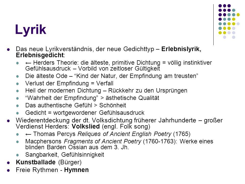 Weitere Werke des jungen Goethe Dramen Clavigo (1774), Stella (1775) Hymnen ( freie Rythmen ) der große Mensch – vorbehaltlos gepriesen, Titanismus Wanderers Sturmlied (1772) Prometheus (1774) Ganymed (1774)