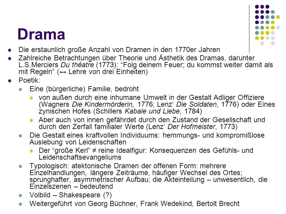 Drama Die erstaunlich große Anzahl von Dramen in den 1770er Jahren Zahlreiche Betrachtungen über Theorie und Ästhetik des Dramas, darunter L.S.Mercier