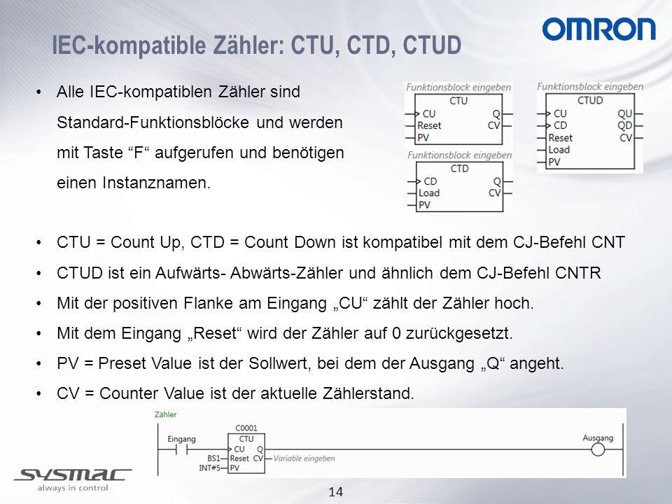 14 IEC-kompatible Zähler: CTU, CTD, CTUD Alle IEC-kompatiblen Zähler sind Standard-Funktionsblöcke und werden mit Taste F aufgerufen und benötigen einen Instanznamen.