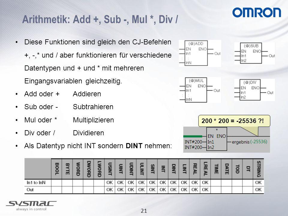 21 Arithmetik: Add +, Sub -, Mul *, Div / Diese Funktionen sind gleich den CJ-Befehlen +, -,* und / aber funktionieren für verschiedene Datentypen und