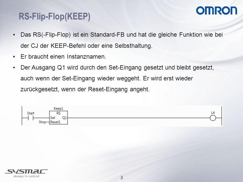 3 RS-Flip-Flop(KEEP) Das RS(-Flip-Flop) ist ein Standard-FB und hat die gleiche Funktion wie bei der CJ der KEEP-Befehl oder eine Selbsthaltung. Er br