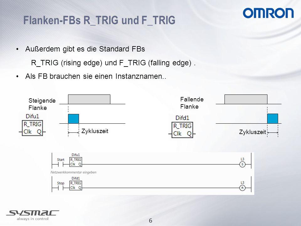 6 Flanken-FBs R_TRIG und F_TRIG Außerdem gibt es die Standard FBs R_TRIG (rising edge) und F_TRIG (falling edge). Als FB brauchen sie einen Instanznam