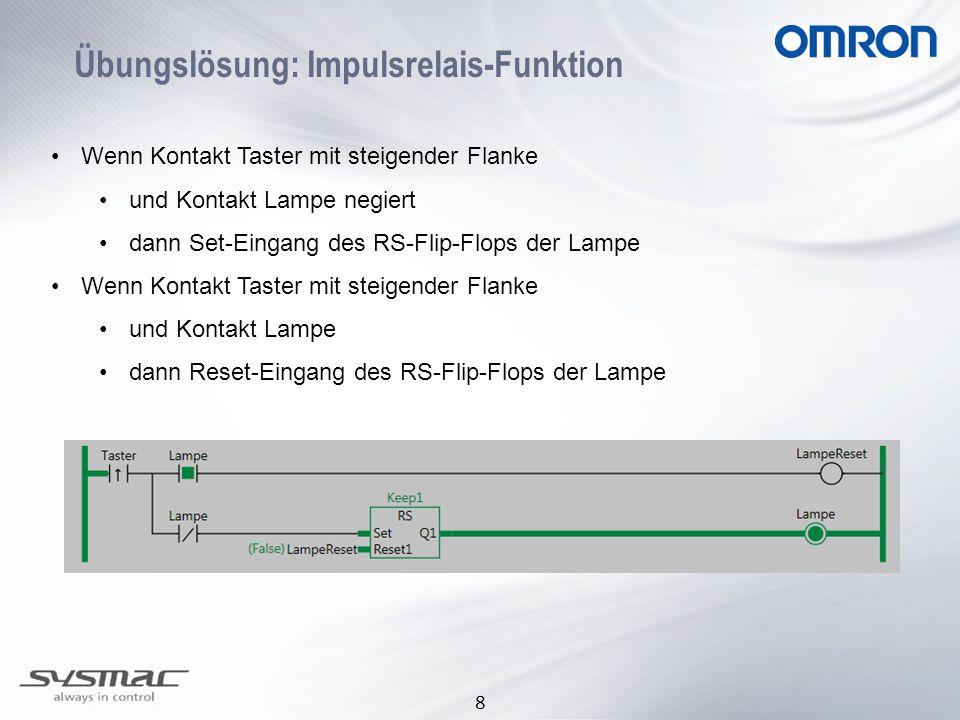 8 Übungslösung: Impulsrelais-Funktion Wenn Kontakt Taster mit steigender Flanke und Kontakt Lampe negiert dann Set-Eingang des RS-Flip-Flops der Lampe