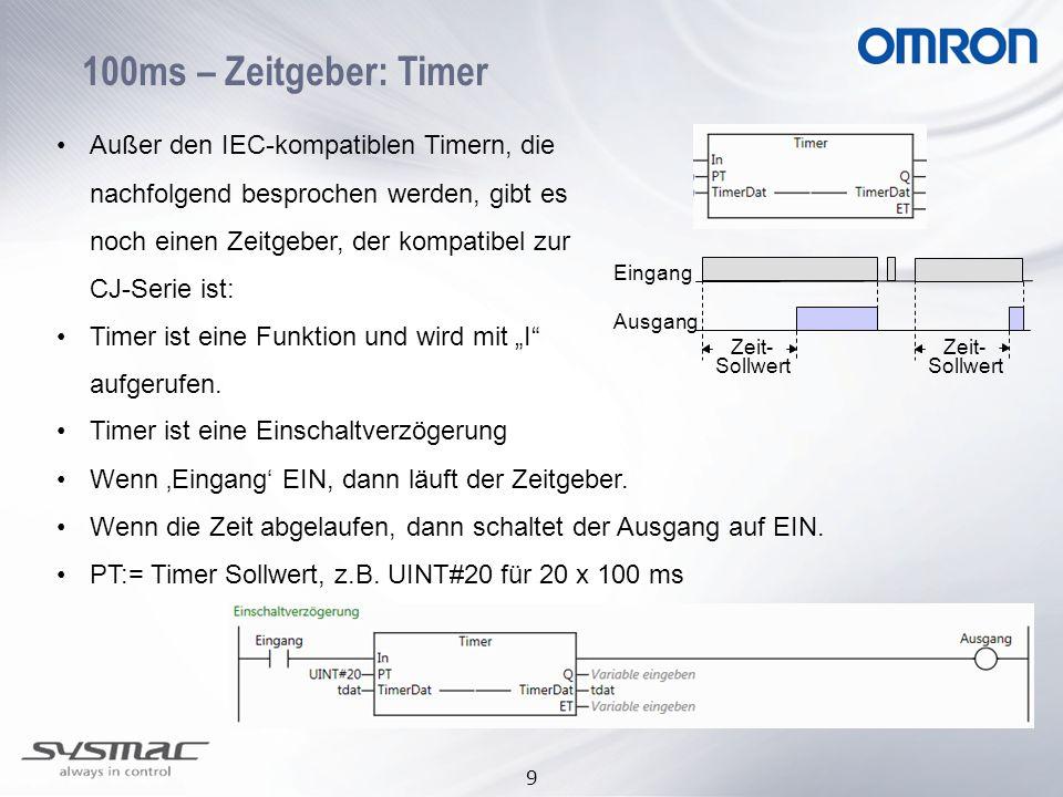 """9 100ms – Zeitgeber: Timer Außer den IEC-kompatiblen Timern, die nachfolgend besprochen werden, gibt es noch einen Zeitgeber, der kompatibel zur CJ-Serie ist: Timer ist eine Funktion und wird mit """"I aufgerufen."""