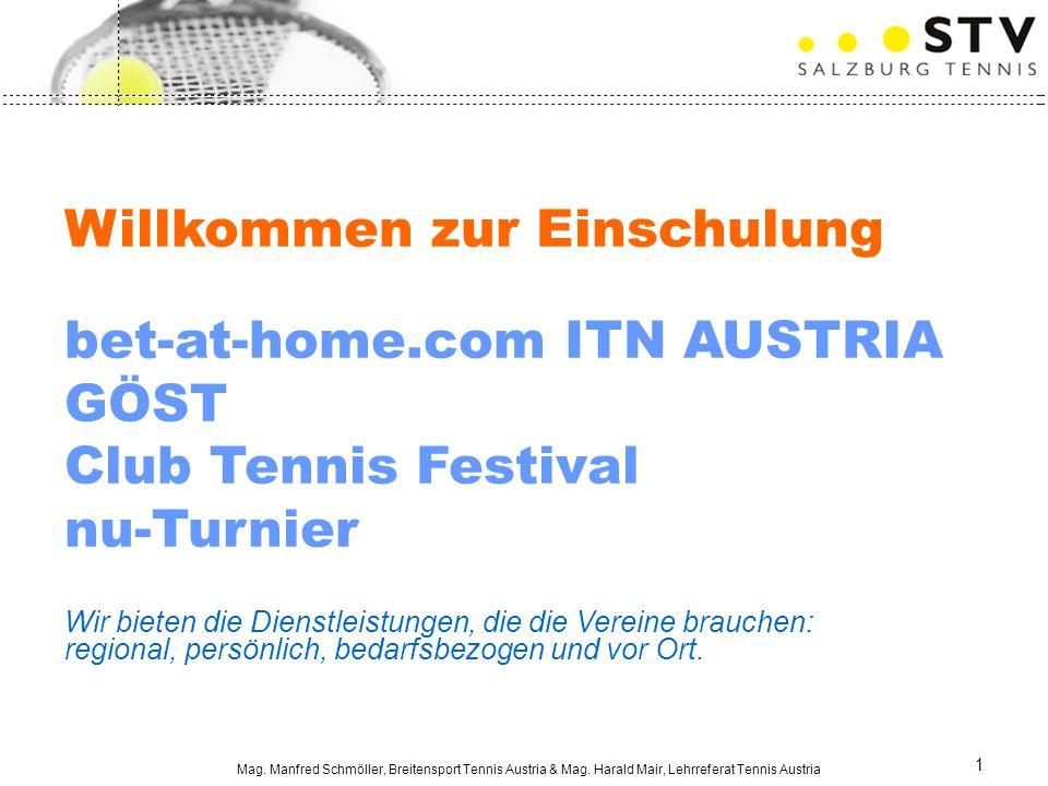 Mag. Manfred Schmöller, Breitensport Tennis Austria & Mag. Harald Mair, Lehrreferat Tennis Austria 1 Willkommen zur Einschulung bet-at-home.com ITN AU