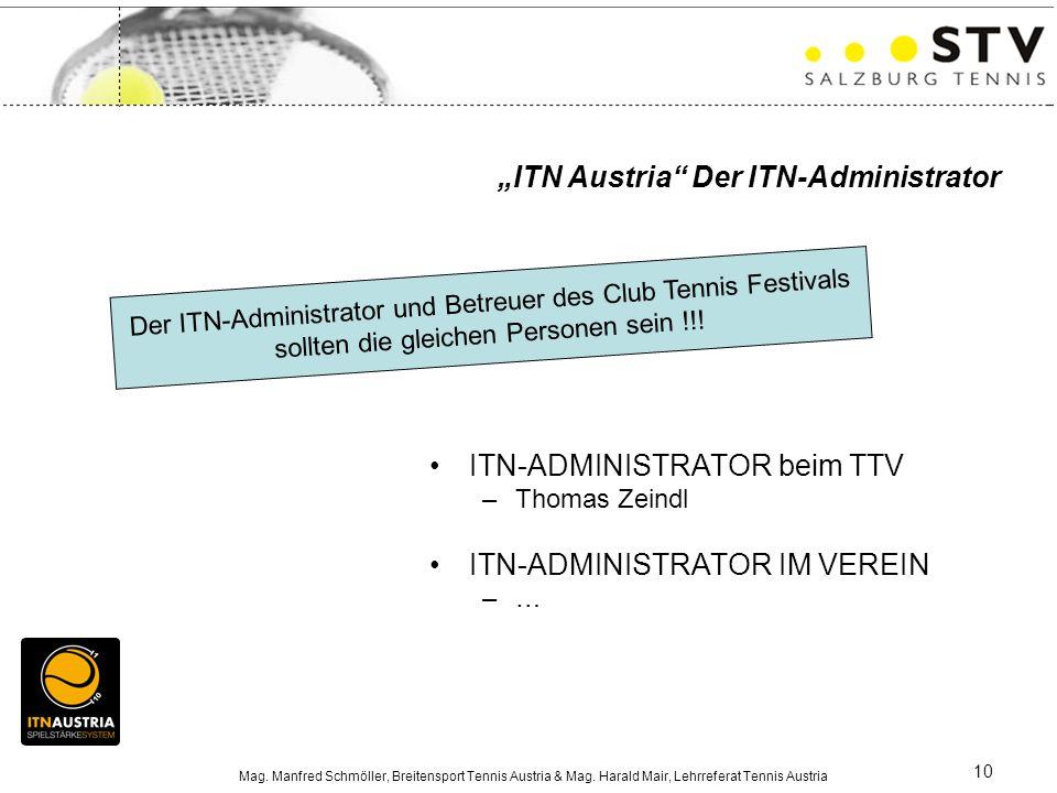 Mag. Manfred Schmöller, Breitensport Tennis Austria & Mag. Harald Mair, Lehrreferat Tennis Austria 10 ITN-ADMINISTRATOR beim TTV –Thomas Zeindl ITN-AD