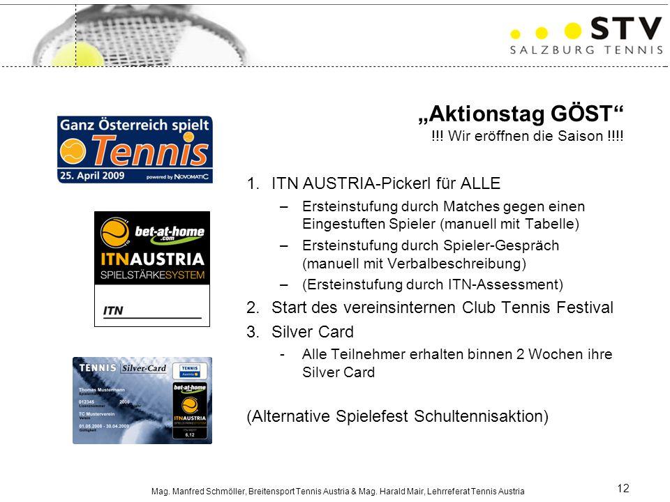 """Mag. Manfred Schmöller, Breitensport Tennis Austria & Mag. Harald Mair, Lehrreferat Tennis Austria 12 """"Aktionstag GÖST"""" !!! Wir eröffnen die Saison !!"""