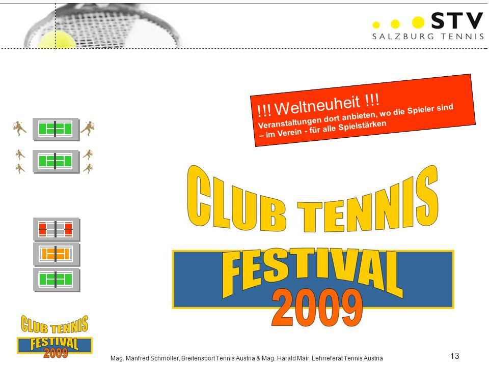 Mag. Manfred Schmöller, Breitensport Tennis Austria & Mag. Harald Mair, Lehrreferat Tennis Austria 13 !!! Weltneuheit !!! Veranstaltungen dort anbiete