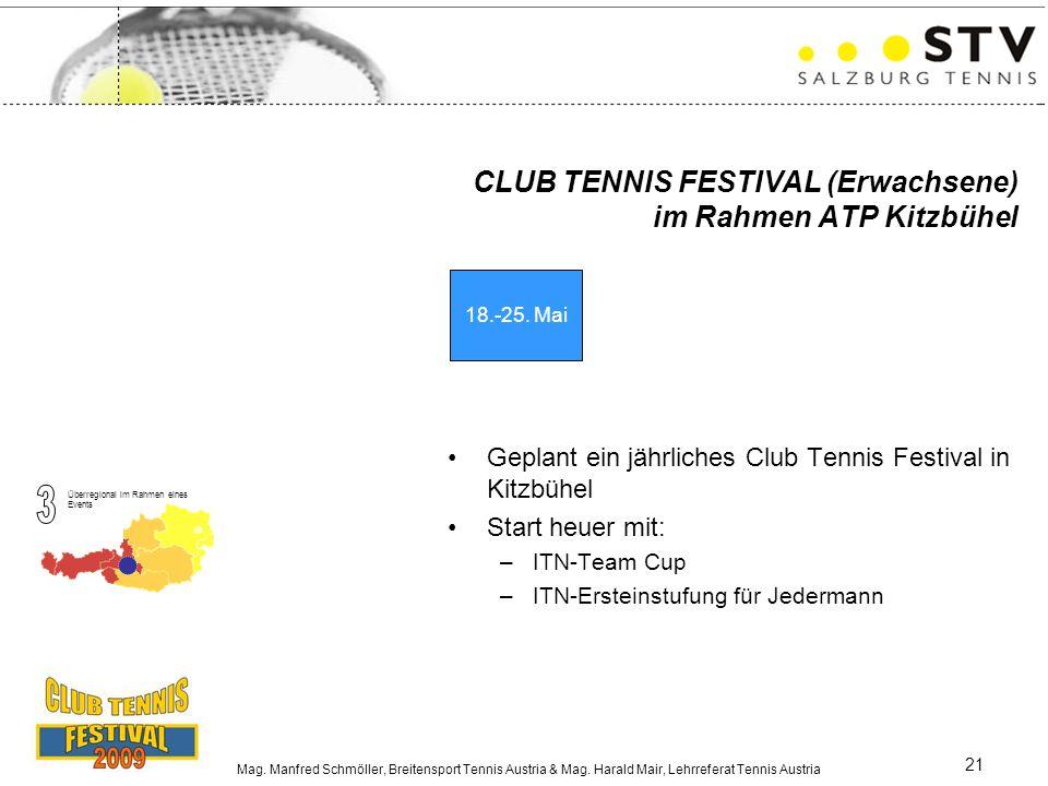 Mag. Manfred Schmöller, Breitensport Tennis Austria & Mag. Harald Mair, Lehrreferat Tennis Austria 21 CLUB TENNIS FESTIVAL (Erwachsene) im Rahmen ATP
