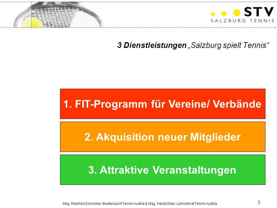 Mag. Manfred Schmöller, Breitensport Tennis Austria & Mag. Harald Mair, Lehrreferat Tennis Austria 3 1. FIT-Programm für Vereine/ Verbände 2. Akquisit