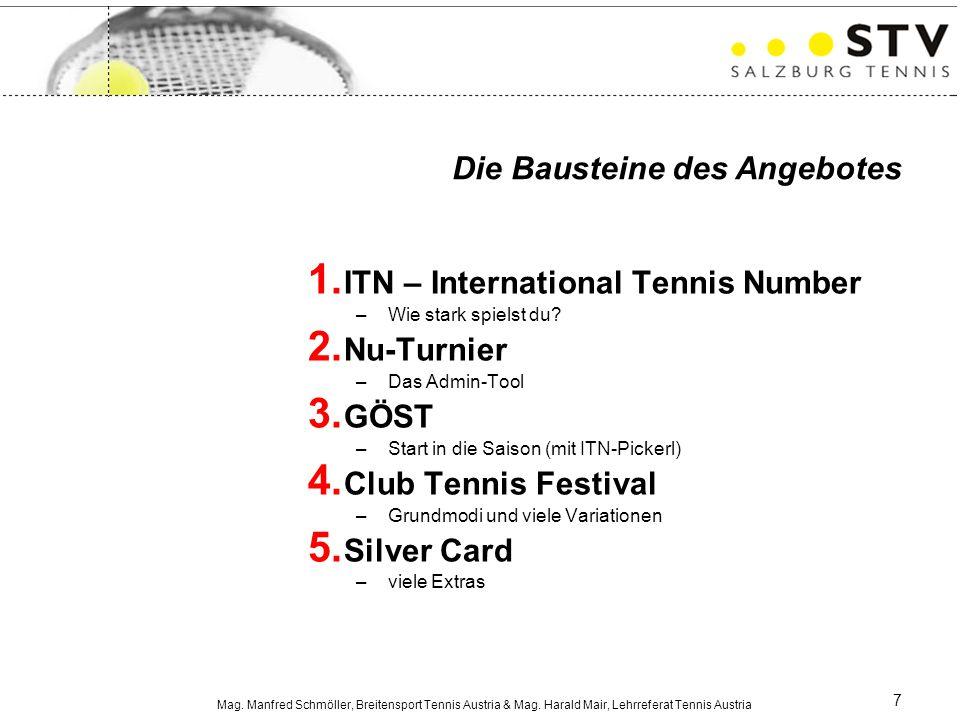 Mag. Manfred Schmöller, Breitensport Tennis Austria & Mag. Harald Mair, Lehrreferat Tennis Austria 7 1. ITN – International Tennis Number –Wie stark s