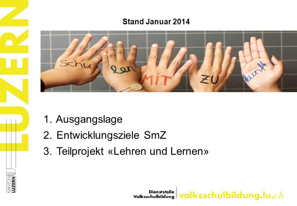 1. Ausgangslage 2. Entwicklungsziele SmZ 3. Teilprojekt «Lehren und Lernen» Stand Januar 2014