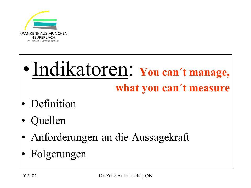26.9.01Dr. Zenz-Aulenbacher, QB Indikatoren: You can´t manage, what you can´t measure Definition Quellen Anforderungen an die Aussagekraft Folgerungen