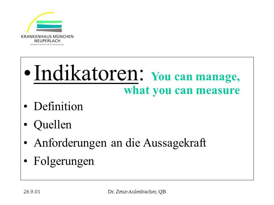 26.9.01Dr. Zenz-Aulenbacher, QB Indikatoren: You can manage, what you can measure Definition Quellen Anforderungen an die Aussagekraft Folgerungen
