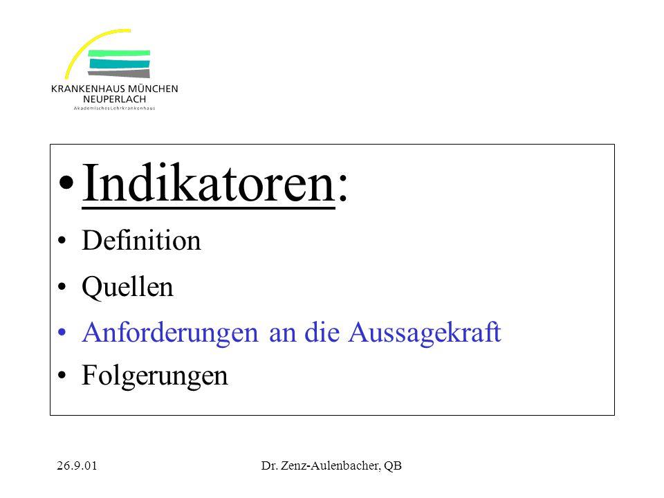 26.9.01Dr. Zenz-Aulenbacher, QB Indikatoren: Definition Quellen Anforderungen an die Aussagekraft Folgerungen