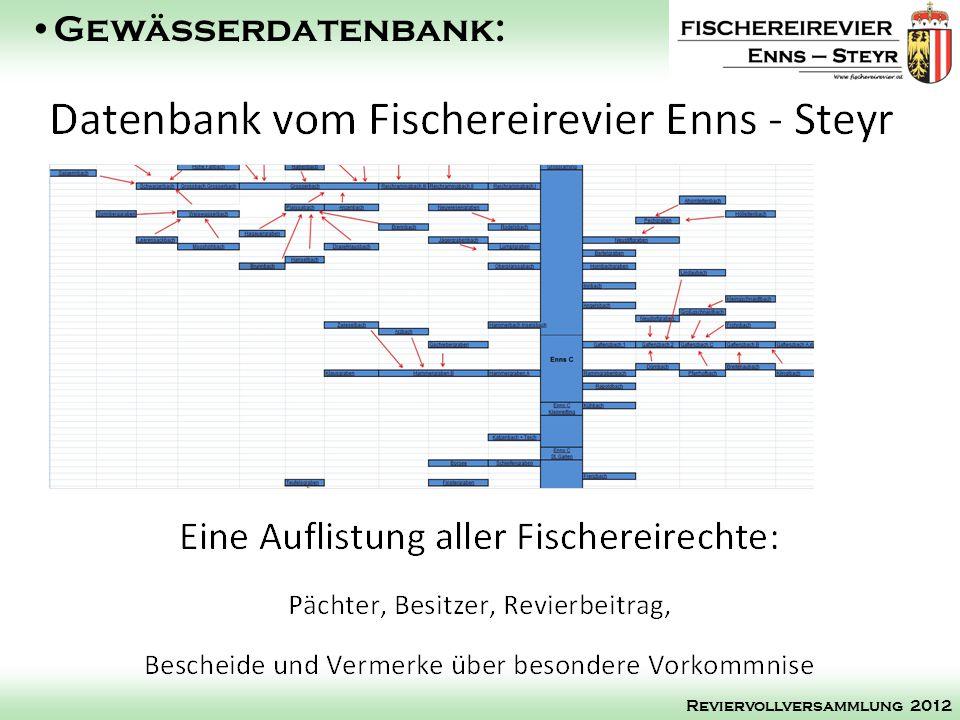 Gewässerdatenbank: Reviervollversammlung 2012
