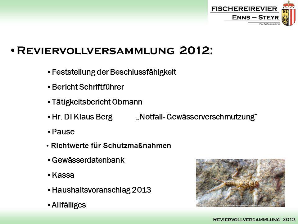 Reviervollversammlung 2012: Reviervollversammlung 2012 Feststellung der Beschlussfähigkeit Bericht Schriftführer Tätigkeitsbericht Obmann Hr. DI Klaus