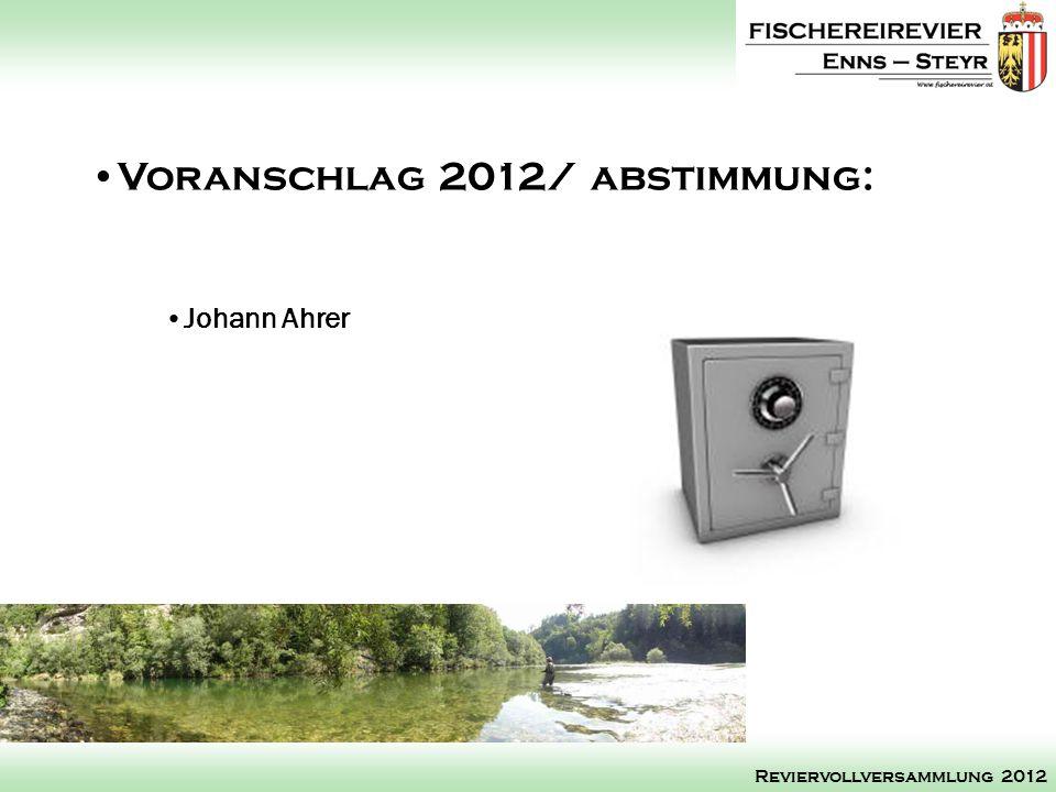 Johann Ahrer Voranschlag 2012/ abstimmung: Reviervollversammlung 2012