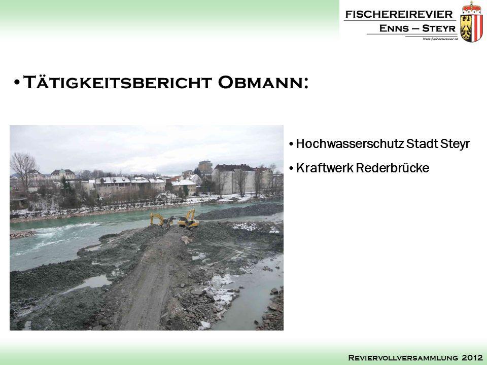 Hochwasserschutz Stadt Steyr Kraftwerk Rederbrücke Tätigkeitsbericht Obmann: Reviervollversammlung 2012