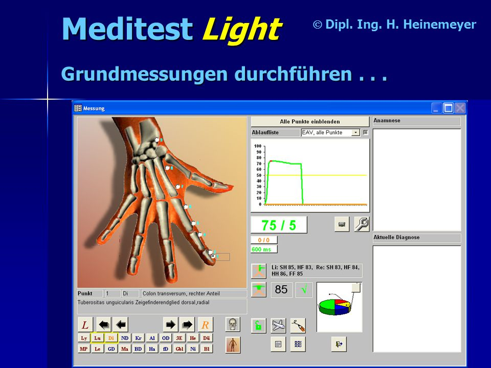 Meditest Light  Dipl. Ing. H. Heinemeyer Resonanztest durchführen...