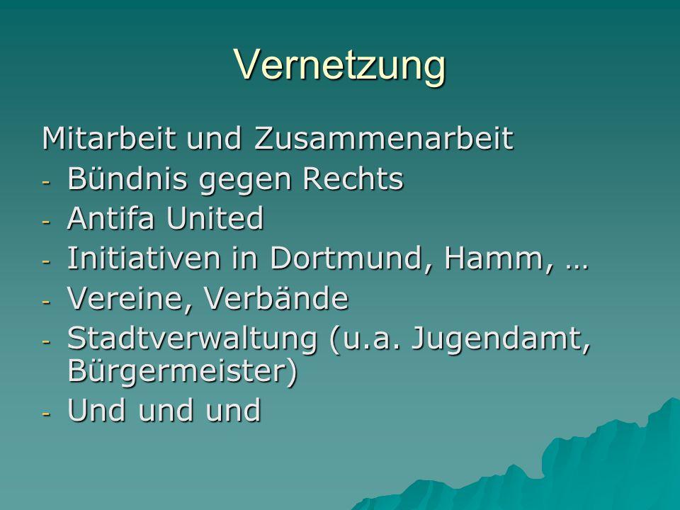 Vernetzung Mitarbeit und Zusammenarbeit - Bündnis gegen Rechts - Antifa United - Initiativen in Dortmund, Hamm, … - Vereine, Verbände - Stadtverwaltung (u.a.