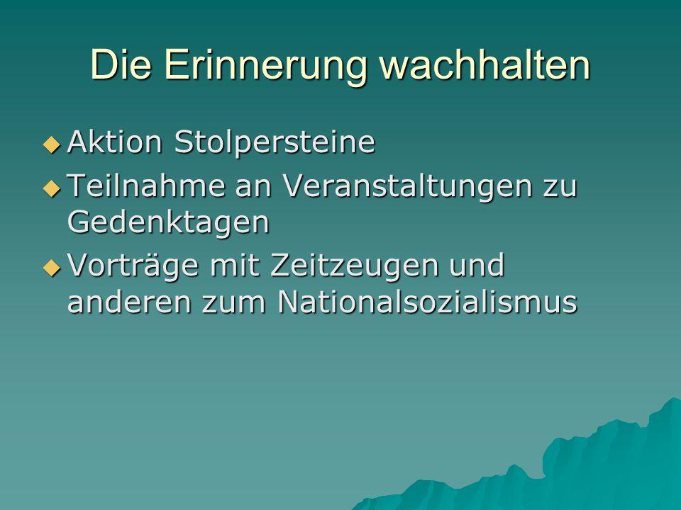  Aktion Stolpersteine  Teilnahme an Veranstaltungen zu Gedenktagen  Vorträge mit Zeitzeugen und anderen zum Nationalsozialismus