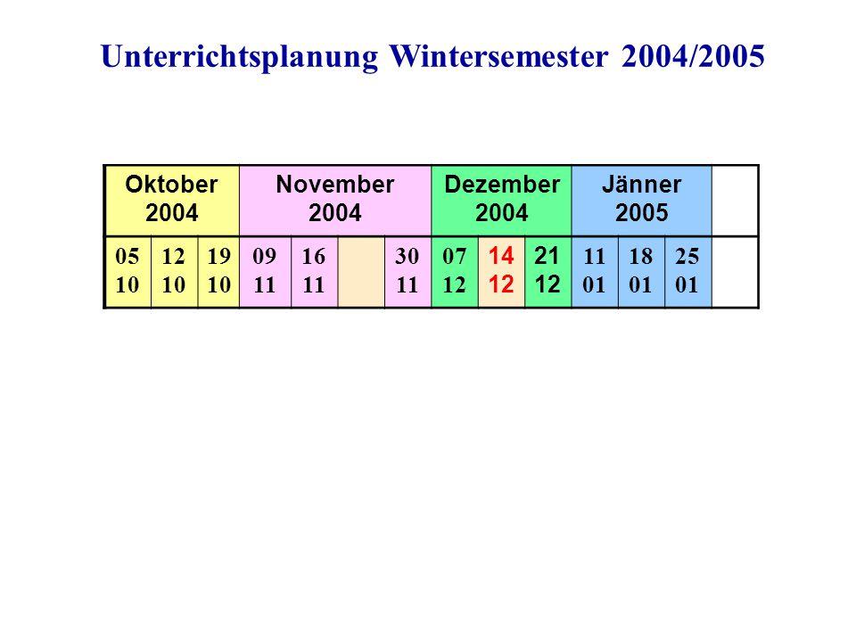 Oktober 2004 November 2004 Dezember 2004 Jänner 2005 05 10 12 10 19 10 09 11 16 11 30 11 07 12 14 12 21 12 11 01 18 01 25 01 Unterrichtsplanung Winter