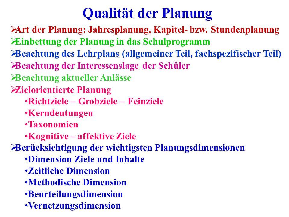 Qualität der Planung  Art der Planung: Jahresplanung, Kapitel- bzw. Stundenplanung  Einbettung der Planung in das Schulprogramm  Beachtung des Lehr