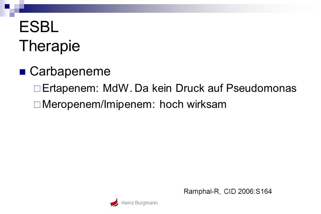 Heinz Burgmann ESBL Therapie Carbapeneme  Ertapenem: MdW. Da kein Druck auf Pseudomonas  Meropenem/Imipenem: hoch wirksam Ramphal-R, CID 2006:S164