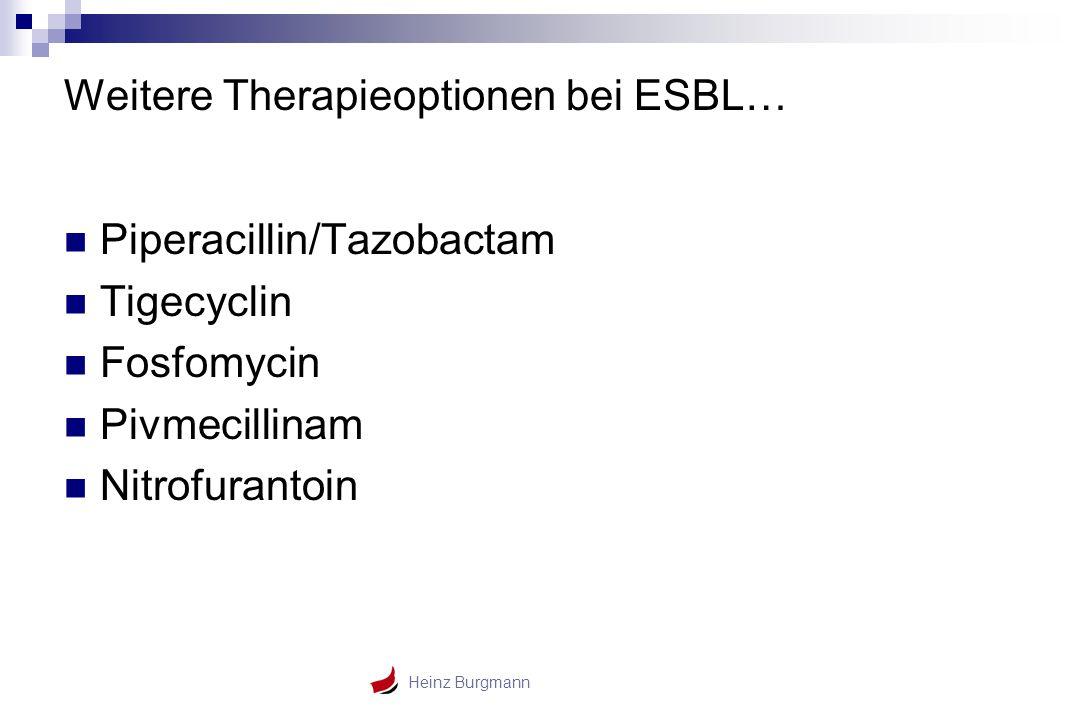 Heinz Burgmann Weitere Therapieoptionen bei ESBL… Piperacillin/Tazobactam Tigecyclin Fosfomycin Pivmecillinam Nitrofurantoin