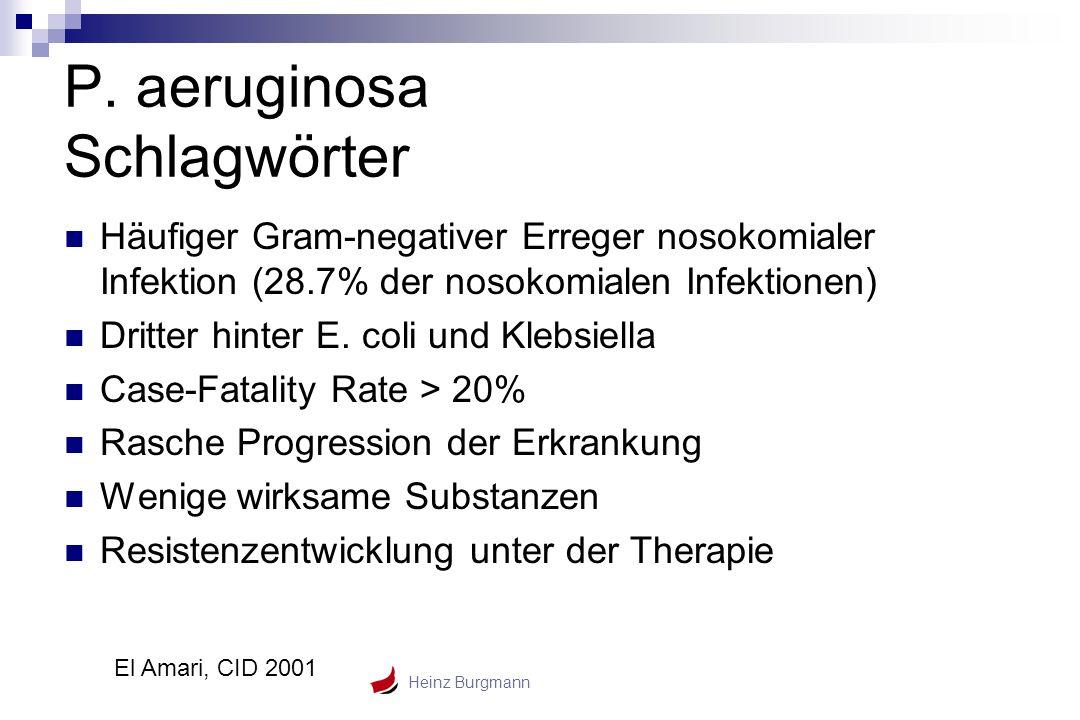Heinz Burgmann P. aeruginosa Schlagwörter Häufiger Gram-negativer Erreger nosokomialer Infektion (28.7% der nosokomialen Infektionen) Dritter hinter E