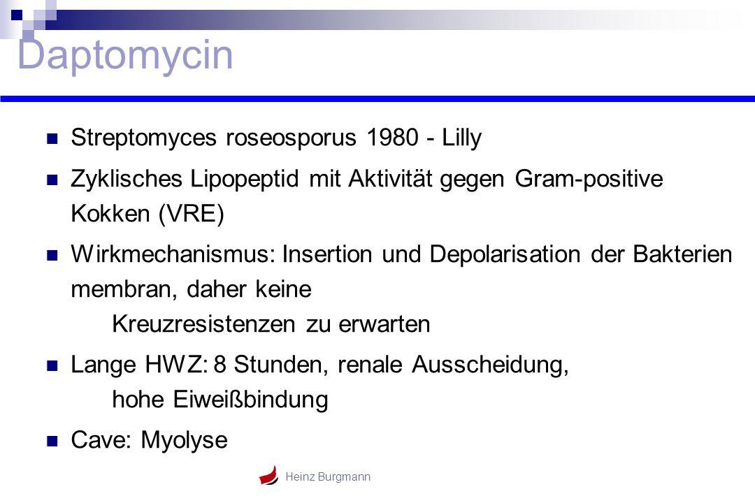 Heinz Burgmann Daptomycin Streptomyces roseosporus 1980 - Lilly Zyklisches Lipopeptid mit Aktivität gegen Gram-positive Kokken (VRE) Wirkmechanismus: