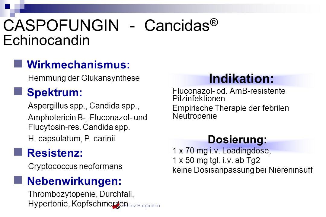 Heinz Burgmann Wirkmechanismus: Hemmung der Glukansynthese Spektrum: Aspergillus spp., Candida spp., Amphotericin B-, Fluconazol- und Flucytosin-res.