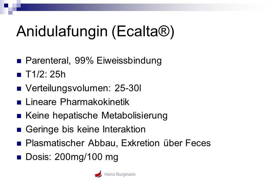 Heinz Burgmann Anidulafungin (Ecalta®) Parenteral, 99% Eiweissbindung T1/2: 25h Verteilungsvolumen: 25-30l Lineare Pharmakokinetik Keine hepatische Me