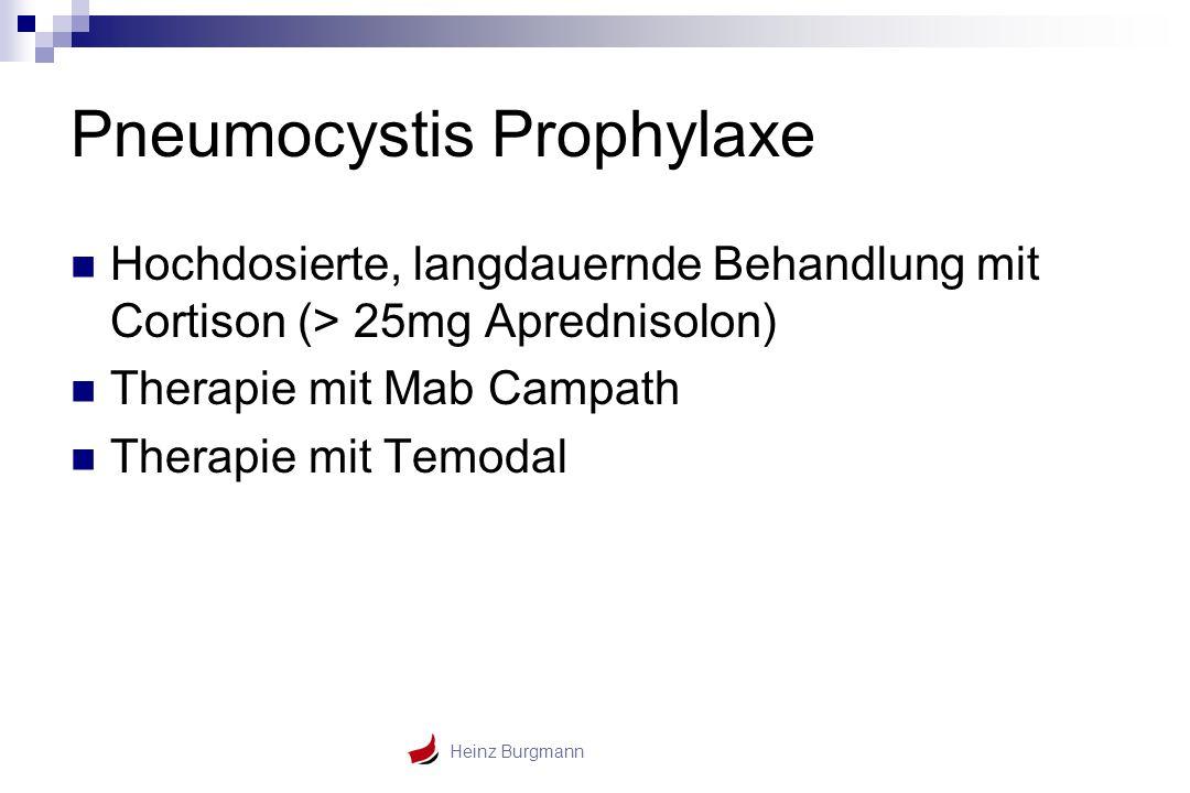 Heinz Burgmann Pneumocystis Prophylaxe Hochdosierte, langdauernde Behandlung mit Cortison (> 25mg Aprednisolon) Therapie mit Mab Campath Therapie mit