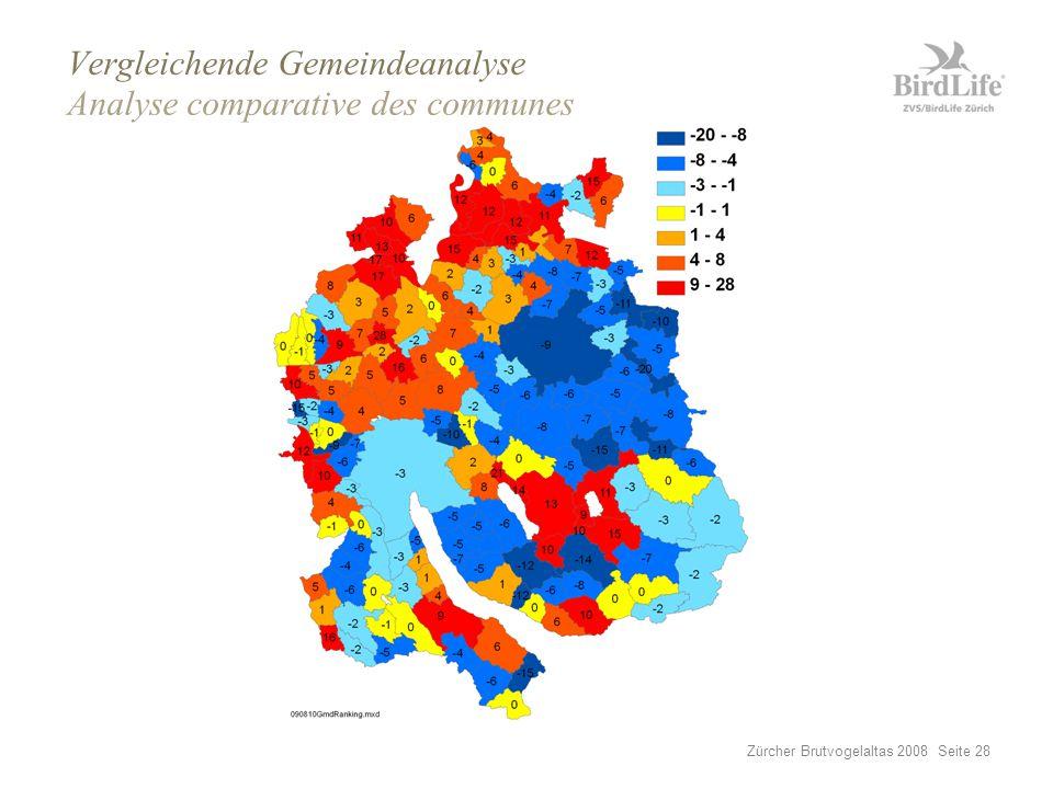 Zürcher Brutvogelaltas 2008 Seite 28 Vergleichende Gemeindeanalyse Analyse comparative des communes