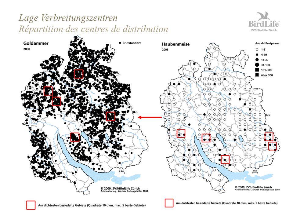 Zürcher Brutvogelaltas 2008 Seite 30 Répartition des centres de distribution Lage Verbreitungszentren