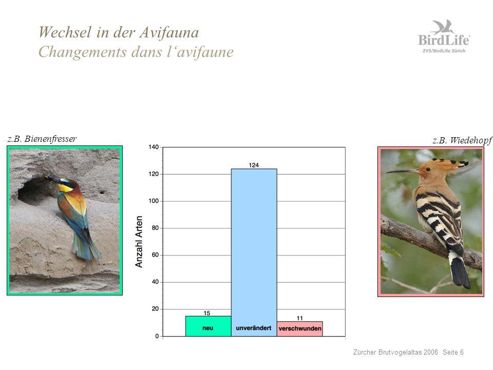 Zürcher Brutvogelaltas 2008 Seite 7 Wechsel in der Avifauna Changements dans l'avifaune