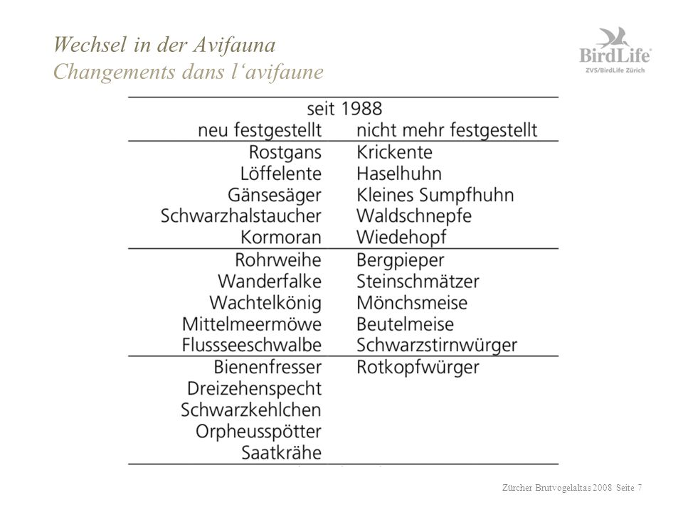 Zürcher Brutvogelaltas 2008 Seite 18 Klassierung nach Futtersuchdistanz < 30 m < 3 km z.B.