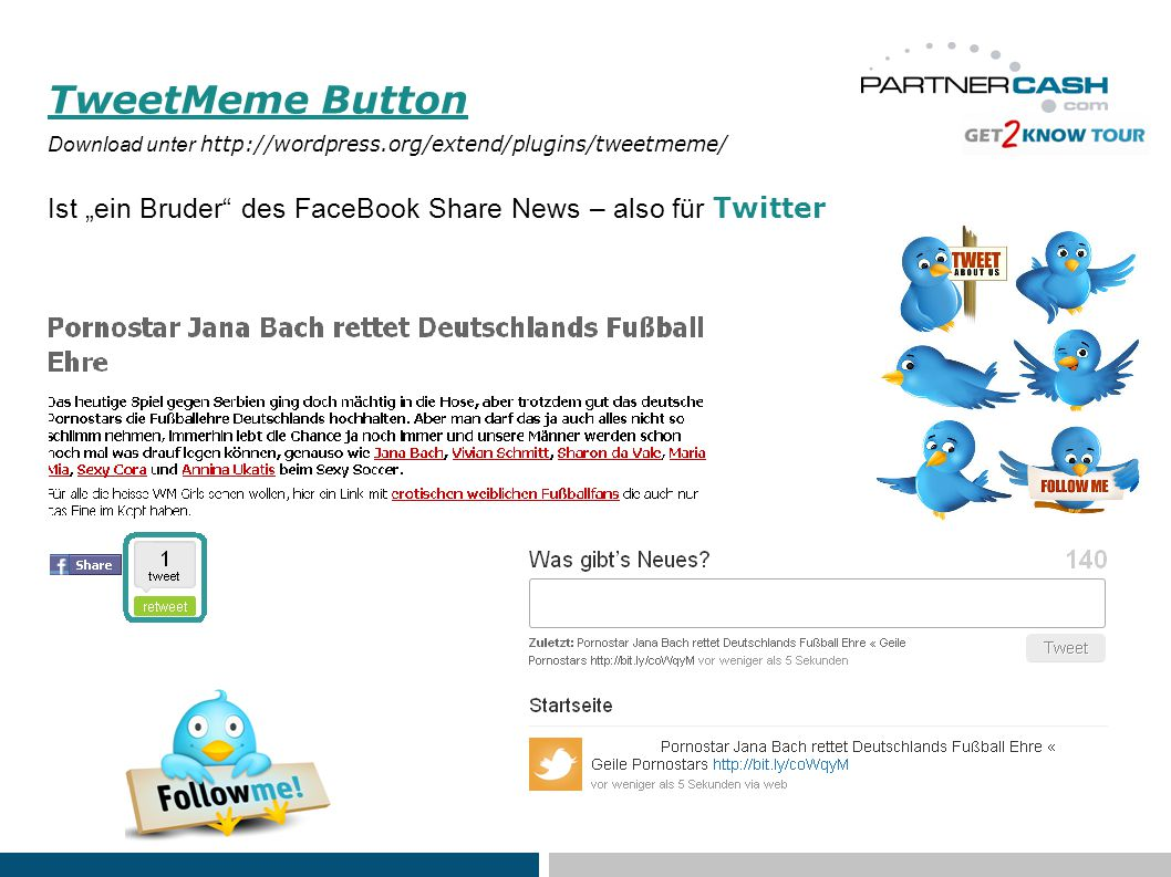 "TweetMeme Button Download unter http://wordpress.org/extend/plugins/tweetmeme/ Ist ""ein Bruder des FaceBook Share News – also für Twitter"