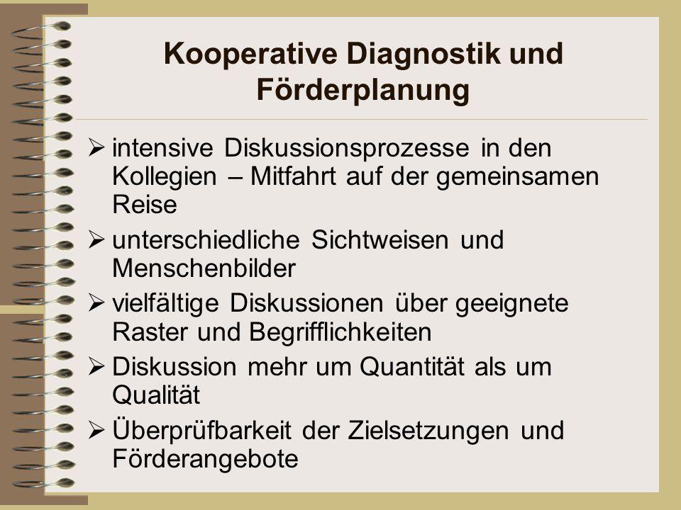 Kooperative Diagnostik und Förderplanung  intensive Diskussionsprozesse in den Kollegien – Mitfahrt auf der gemeinsamen Reise  unterschiedliche Sich
