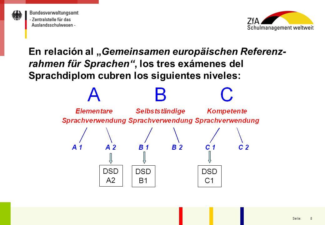 """8 Seite: En relación al """"Gemeinsamen europäischen Referenz- rahmen für Sprachen"""", los tres exámenes del Sprachdiplom cubren los siguientes niveles: DS"""
