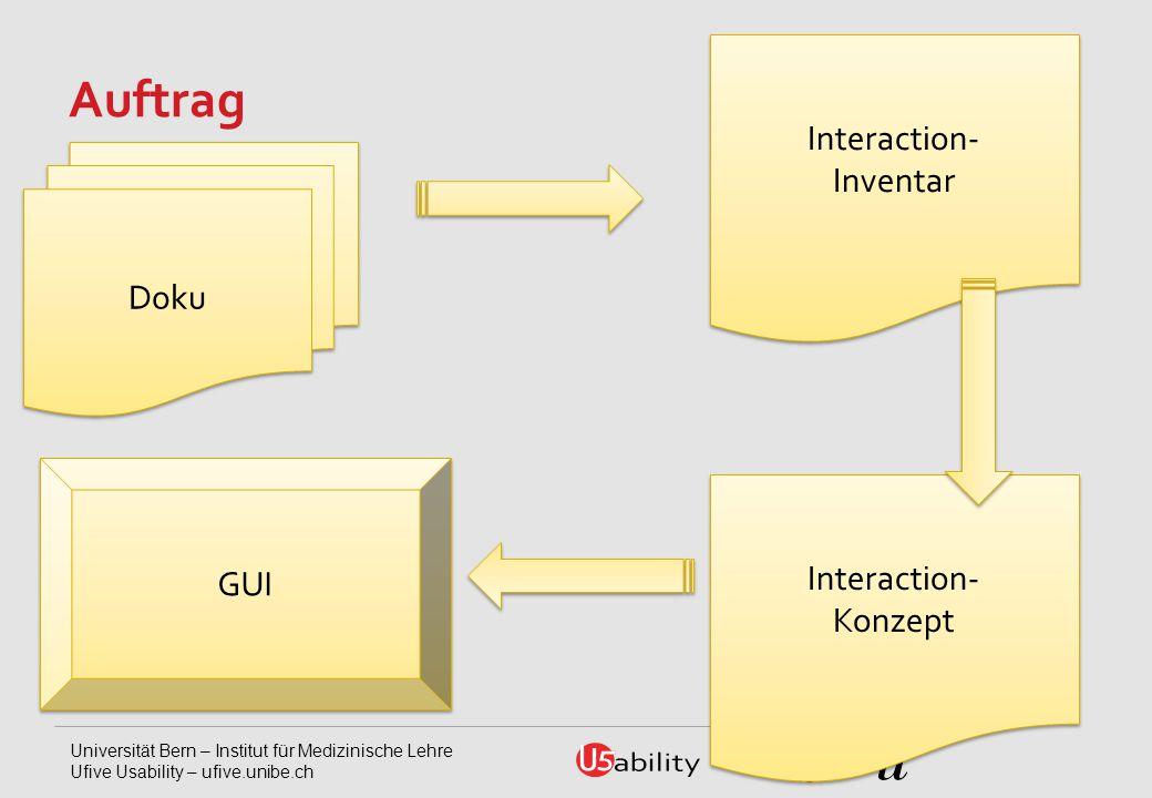 Universität Bern – Institut für Medizinische Lehre Ufive Usability – ufive.unibe.ch Auftrag Doku GUI Interaction- Inventar Interaction- Konzept