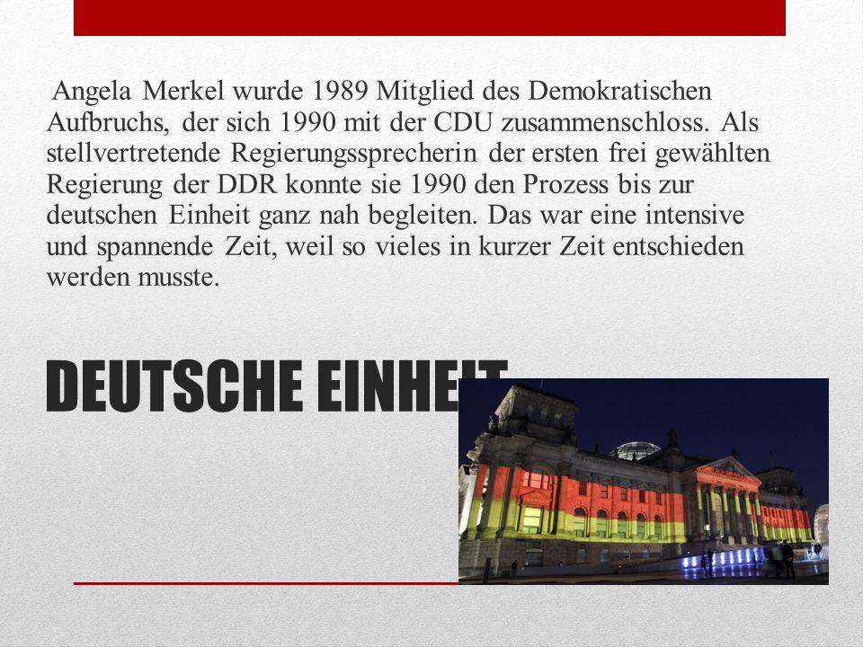 BUNDESTAG Bei den ersten gesamtdeutschen Bundestagswahlen 1990 bewarb sich Angela Merkel um einen Sitz im Deutschen Bundestag für den Wahlkreis Rügen, Stralsund, Grimmen.