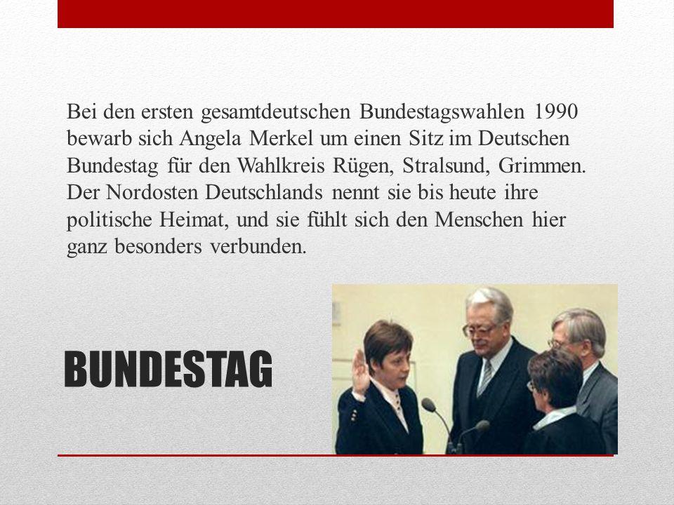 REGIERUNG 1991 wurde Angela Merkel Bundesministerin für Frauen und Jugend in der Regierung von Helmut Kohl, 1994 dann für Umwelt, Naturschutz und Reaktorsicherheit.