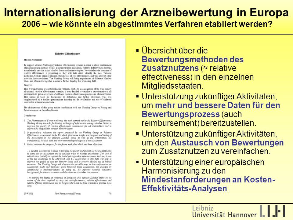  Übersicht über die Bewertungsmethoden des Zusatznutzens (≈ relative effectiveness) in den einzelnen Mitgliedsstaaten.  Unterstützung zukünftiger Ak